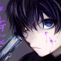 blue black guy eyes Anime with and hair